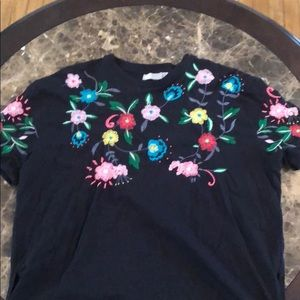 ASOS black tee with colorful flower stiching